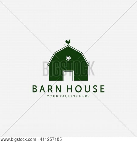 Vintage Wooden Barn Logo Vector Design Illustration, Barn House Icon, Agriculture, Livestock Company