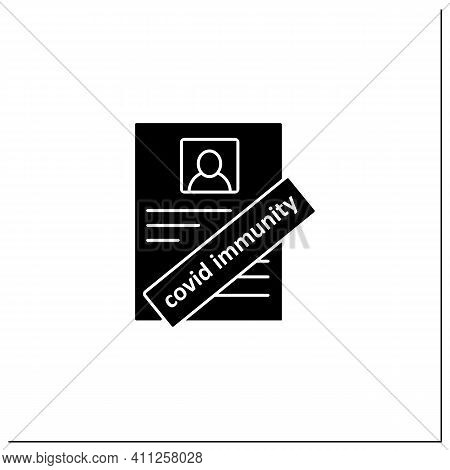 Covid Immunity Glyph Icon. Health Passport. Sign About Person Health. Protection Against Coronavirus