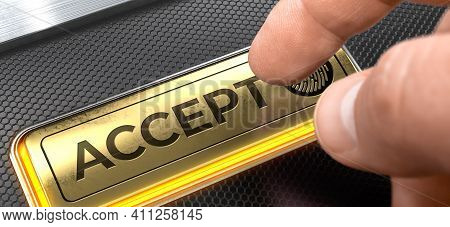Accept - Conceptual Keyboard With A Gold Button. Accept Button On The Futuristic Keyboard.3d.