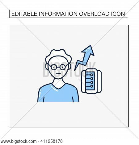 New Information Rate Line Icon. Rapidly Increasing Rate Of New Info. Inaccurate, Fake Info. Informat