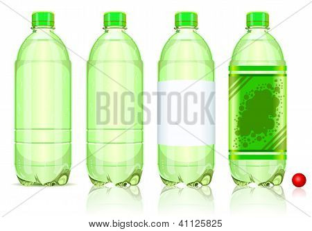 Four Plastic Bottles Of Carbonated Drink With Labels