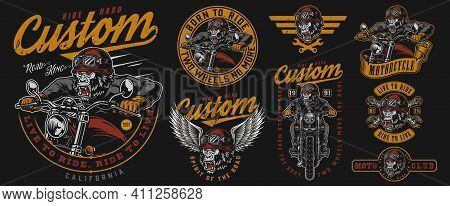 Custom Motorcycle Labels Set With Angry Gorilla Motorcyclist Monkey Head In Moto Helmet And Eagle Wi