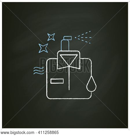 Dry Cleaning Chalk Icon. Laundry Service. Ironing. Washer. Using Chemical Solvent With Water. Cleani