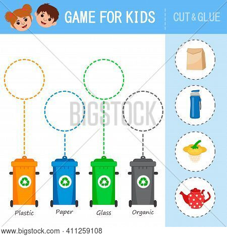 Games For Kids. Sort Garbage Into Containers - Glass, Plastic, Metal, Paper, Organic, E-waste. Eco A