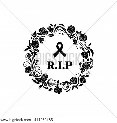 Funeral Frame Floral Or Flowers Border, Vector Obituary And Mourning Memorial Banner. Funeral Black