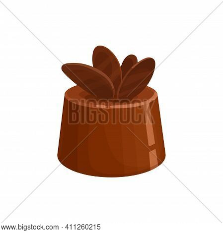 Chocolate Candy Sweet Dessert Icon, Vector Isolated Confection. Truffle Or Praline Chocolate Candy C