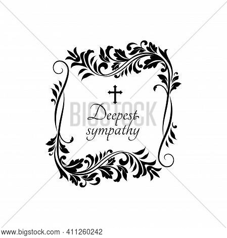 Condolence Message On Gravestone With Vintage Flower Ornaments And Crucifix Cross. Vector Funeral Ca