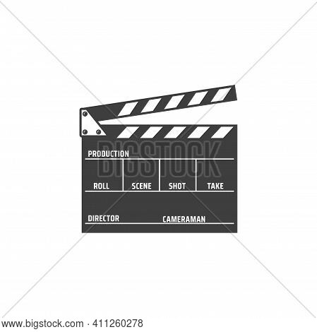 Clapper Board Isolated Film Production Desk Monochrome Icon. Vector Movie Shooting Instrument With M