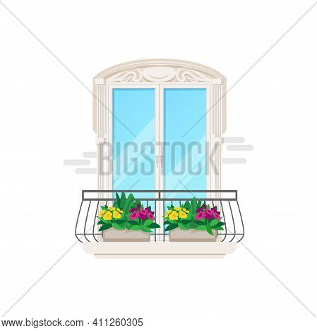 Balcony Of House Building Apartments, Vector Flat Icon With Window And Door View. Classic Balcony Fa