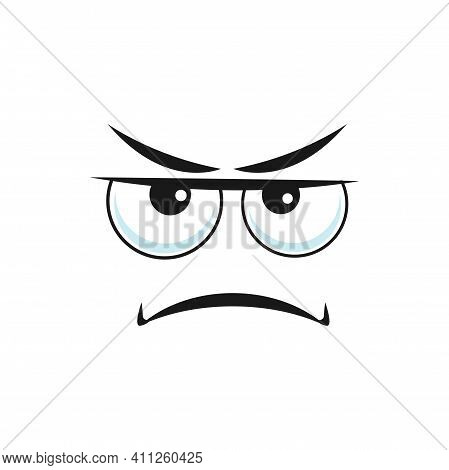 Unhappy Emoji, With Offended Sorrow Head, Smile Down And Big Eyes Isolated. Vector Bored Irritated S