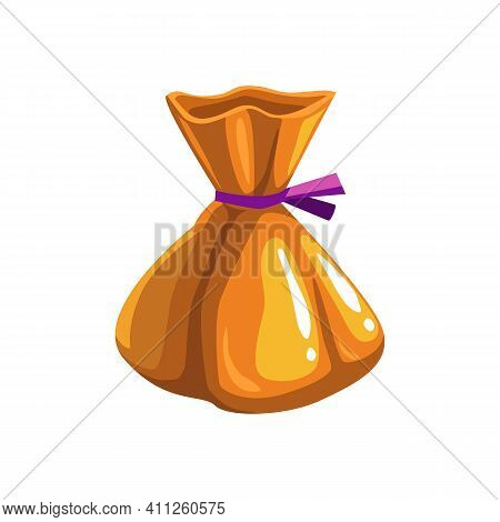 Candy In Orange Wrap Halloween Trick Or Treat Symbol Isolated Realistic Icon. Vector Food Dessert, S