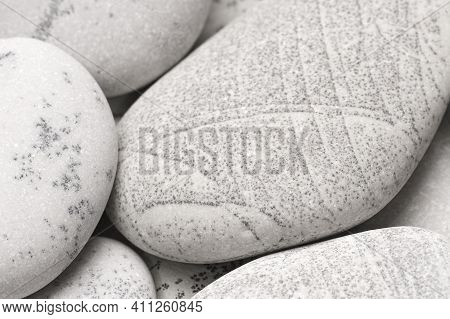 Pebbles Background, Abstract Background With Dry Round Gray Reeble Stones, Gray Close-up Pebbles Bac