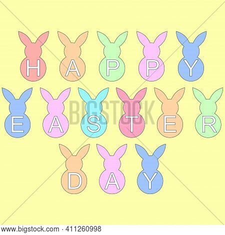 Vector Easter Greeting Card. Happy Easter Banner. Easter Bunny Background. Vector Eps 10