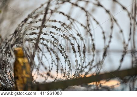 Barbed Wire On Fence Of Restricted Area. No Unauthorized Entry. Old Fence Of Military Border Territo
