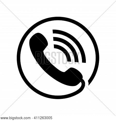 Vector Illustration Of A Telephone Receiver Icon. Suitable For Design Elements From Telephone Commun