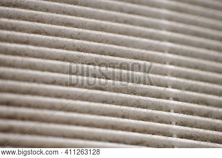 Extremely Dirty Air Ventilation Grill Of Hvac With Dusty Clogged Filter, Macro. Close Up. Cleaning A