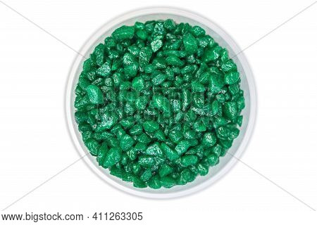 Emerald Green Gemstone In Bowl. Glitter Semiprecious Stones For Decoration, Flat Lay, Isolated White