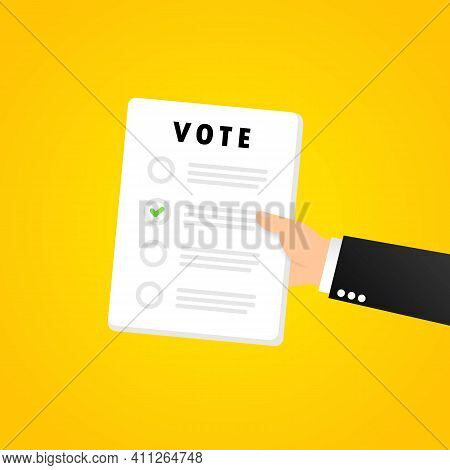 Vote Form Banner. Voting Bulletin. Vector On Isolated Background. Eps 10.