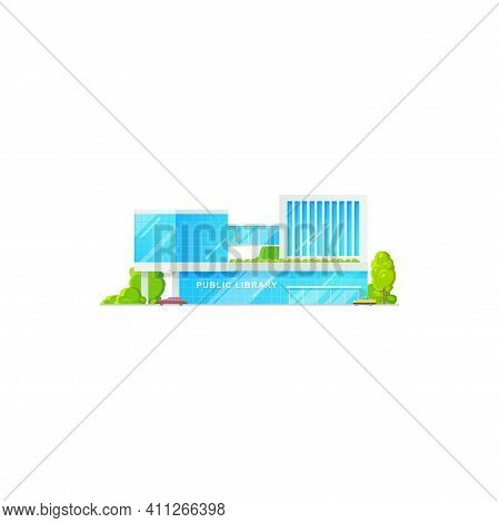 Library Public Building Icon, Flat Isolated Exterior Facade Vector Isolated Architecture. School Or