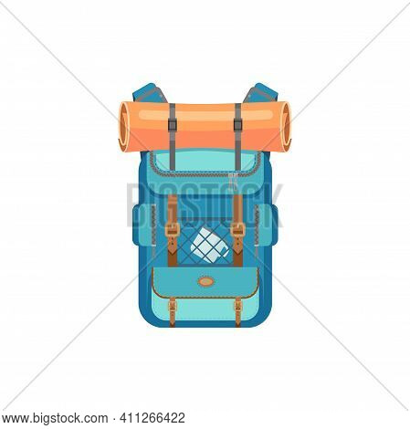 Blue Backpack With Sleeping Mat Isolated Hiking And Camping Sport Bag. Vector Traveling Rucksack Or