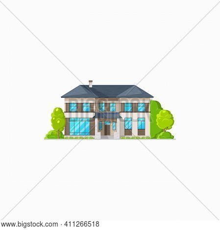 Rural Building Villa Cottage Isolated Realistic House. Vector Retro Building On Sale, Countryside St