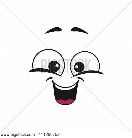 Happy Cartoon Face Isolated Vector Icon, Wide Smile Facial Emoji. Funny Emotion, Comic Face With Too
