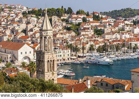 Hvar, Croatia - Circa August 2016: Beautiful View Of The Town Of Hvar On The Island Of Hvar In Croat
