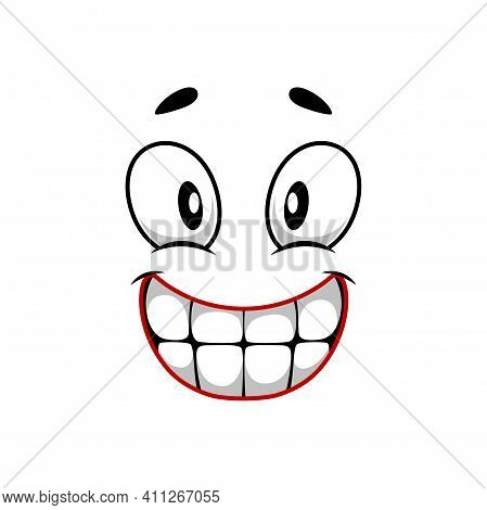 Cartoon Face Vector Icon, Happy Emoji, Smiling Facial Expression With Smiling Toothy Mouth And Wide