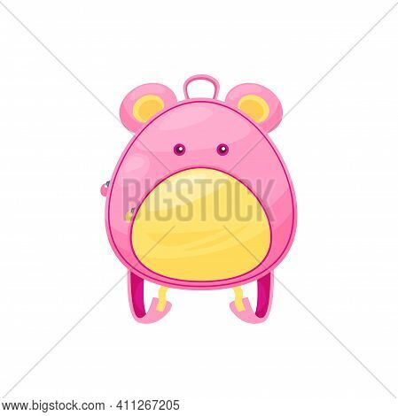 Kids Schoolbag Isolated Vector Icon, Cute Cartoon Rucksack With Mouse Muzzle, Funny Baby Backpack Wi