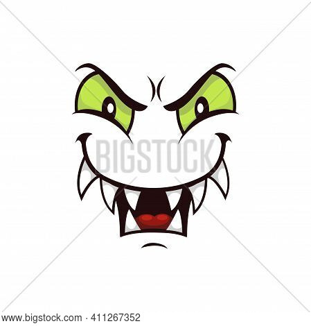 Monster Face Cartoon Vector Icon, Creepy Creature Emotion With Predatory Gloat Smile, Squinted Green