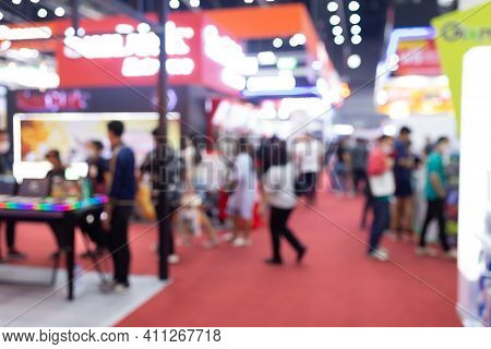 Abstract Blur People In Exhibition Hall Event Trade Show Expo Background. Business Convention Show,