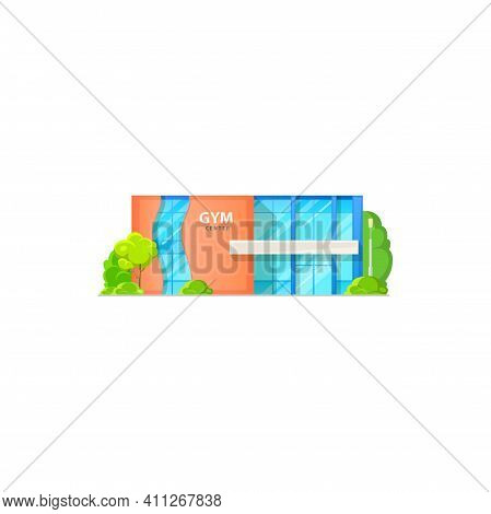 Entertainment Leisure Sport Club, Glass Workout Center Isolated Cartoon Building With Fitness Gym. V
