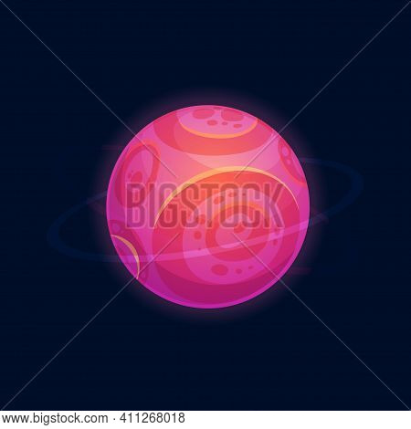 Cartoon Habitable Planet Magic Cosmic Aliens World Isolated Pink Globe. Vector Round Circle In Atmos