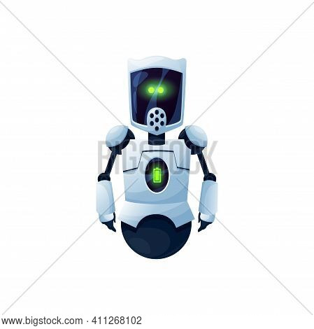 Friendly Robot Android Without Leg On Wheel Cyborg Isolated Cartoon Icon. Vector Ai Bot, Friendly So