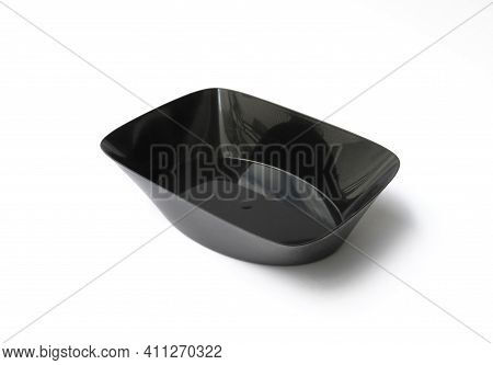 Black Empty Food Tray Isolated On White Background. Aerial View Of Empty Black Plastic Food Containe