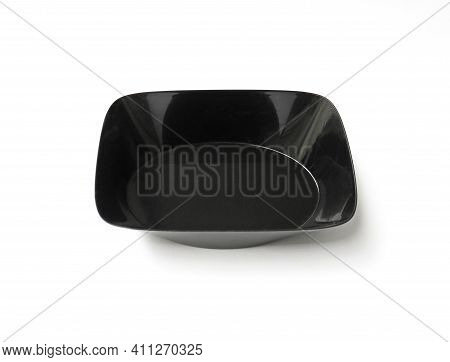 Empty Food Tray Isolated On White Background. Aerial View Of Empty Black Plastic Food Container. Ova