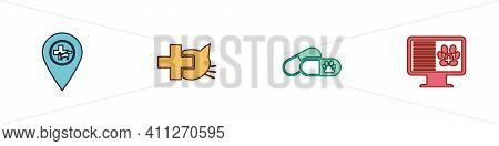 Set Location Veterinary, Veterinary Clinic, Dog And Pills And Clinical Record Pet Monitor Icon. Vect