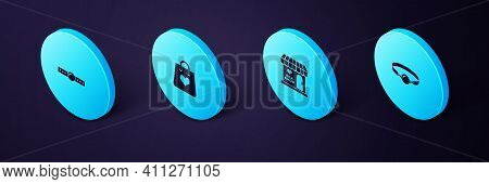 Set Isometric Silicone Ball Gag, Sex Shop Building, Shopping Bag With Heart And Icon. Vector