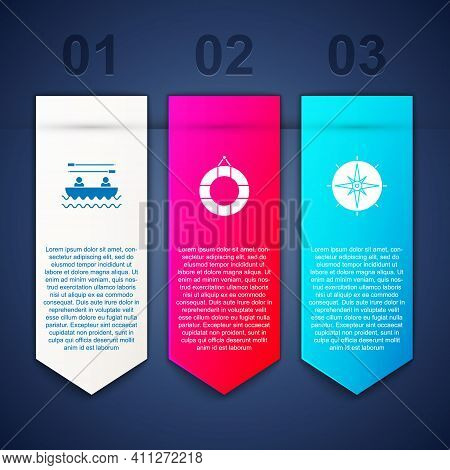 Set Boat With Oars, Lifebuoy And Wind Rose. Business Infographic Template. Vector