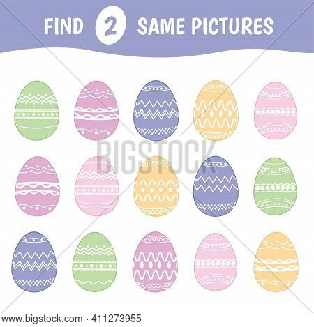 Find Two Identical Easter Eggs. Children's Game Of Mindfulness. Vector Illustration.
