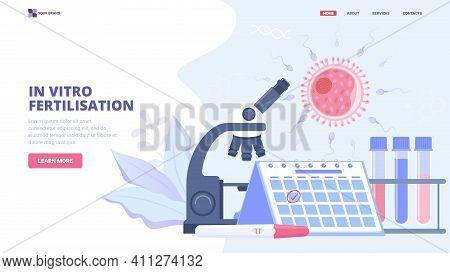 In Vitro Fertilisation Flat Vector Illustration. Concept For Medical Clinic, Hero Image, Banner, Lan