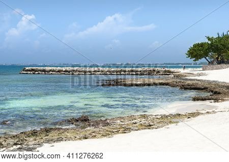 The Rocky And Sandy Shore On Grand Cayman Island Seven Mile Beach (cayman Islands).