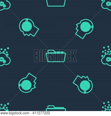 Set Line Folder, Head Hunting Concept And Co2 Emissions Cloud On Seamless Pattern. Vector