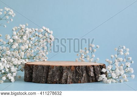 A Minimalistic Scene Of A Felled Tree Lies With Flowers On A Blue Background. Catwalk For The Presen