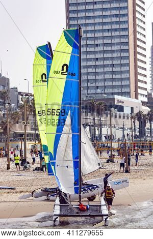 Israel, Tel Aviv, February, 2018 - Sailing Sport And Other Active Lifestyle In Beach Season In Tel A