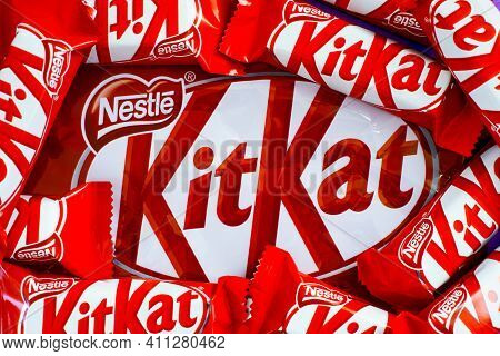 Tambov, Russian Federation - January 30, 2021 Kitkat Candies By Nestle On Kit Kat Brand Pack