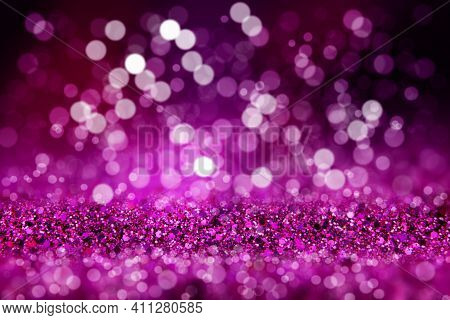 Shiny Background. Beautiful Glowing Bokeh. Bright Glowing Background. Shiny Glowing Effect. Purple S