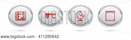 Set Line Window With Curtains, Office Desk, Armchair And Curtains. Silver Circle Button. Vector