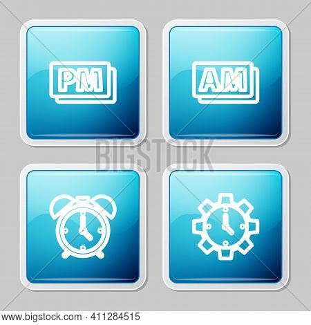 Set Line Clock Pm, Am, Alarm Clock And Time Management Icon. Vector