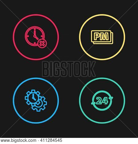Set Line Time Management, Clock 24 Hours, Pm And Delete Icon. Vector